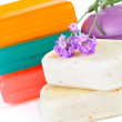 Assorted aromatic organic handmade soap and fresh Lavender flow — Stock Photo #21592647