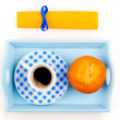 Muffin with coffee cup, in a tray for breakfast. isolated on whi — Stock Photo