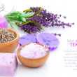 Bar of natural soap, dry Lavender herbs and bath salt isolated — Stock Photo #22079613