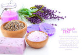 Bar of natural soap, dry Lavender herbs and bath salt isolated — Stock Photo