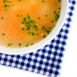 Vegetable soup, Isolated on white background - Stock Photo