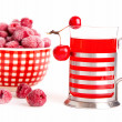 Glass juice with chinese cherry apples with frozen raspberries, — Stock Photo #22081191