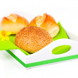 Buns in a tray for breakfast. isolated on white background. - Foto de Stock