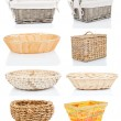 Set of wooden baskets, isolated on a white background — Stock Photo #22083219