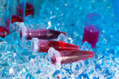 Reaction plastic tube in a box full of ice — Stock Photo