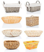 Set of wooden baskets, isolated on a white background — Stock Photo