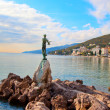 Opatija in Croatia. Sculpture of the woman with the sea. — Stock Photo