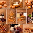 Collection of red wine, eggs, cinnamon and nuts on wooden table — Photo