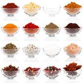 Varietà di spezie differenti in ciotole di vetro per condimento, isolat — Foto Stock