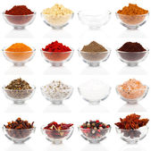 Variety of different spices in glass bowls for seasoning, isolat — Zdjęcie stockowe