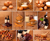 Collection of red wine, eggs, cinnamon and nuts on wooden table — Stock Photo