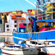 Closeup of fishing boats in the mediterranean Istrian, Croatia. - Stock Photo