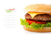 Tasty hamburger on white background — Stock Photo