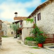 Old street with greenery in flower pots, in Croatia. - Stock Photo