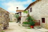 Calle antigua con vegetación en macetas, en croacia. — Foto de Stock