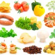 Set of fresh vegetables over white background - Stock Photo