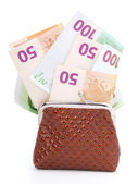 Euro money in purse, isolated on white — Stock Photo