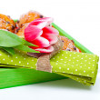 Stock Photo: Tulip with serviette, in tray for breakfast. isolated on whi