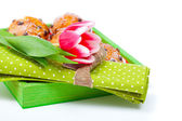 Tulip with a serviette, in a tray for breakfast. isolated on whi — Stock Photo
