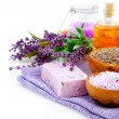 Stock Photo: Spa treatment. Lavender bath salt, soap, oil and lavender flower