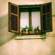 Window antique house with shutters — Stock Photo