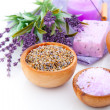 Stock Photo: Dry Lavender herbs and bath salt isolated on white background
