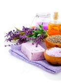 Spa treatment. Lavender bath salt, soap, oil and lavender flower — Stock Photo