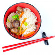 Chinese noodles with beef and vegetables, oriental cuisine - Stock Photo