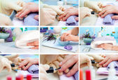 Manicure. Care of fingers of hands, cleaning, covering a varnish — Stock Photo