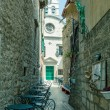 Stock Photo: Atmospheric cafe in narrow street in city of Zadar, Dalmatia,