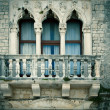 Old window with a small balcony, in city of Zadar, Dalmatia, Cro — Stock Photo
