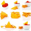 Stock Photo: Nachos corn chips with fresh salsisolated on white