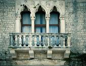Old window with a small balcony, in city of Zadar, Dalmatia, Cro — Stock Photo