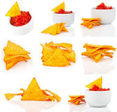 Nachos corn chips with fresh salsa isolated on white — Stock Photo