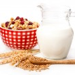 Bowl of oat flake, and fresh milk, on white background. health a — Stock Photo
