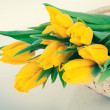 Bouquet of fresh yellow tulips — Stock Photo