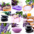 Lavender collage with nine photos, Spa stones — ストック写真