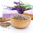 Lavender dry flowers, bath salt isolated on white background — Stock Photo