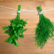 Fresh herbs: parsley and dill, hanging over wooden background — Stock Photo #27462579