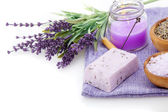 Lavender soap, bath salt and candle isolated on white background — Stock Photo