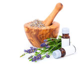 Lavender oil, over a white background — Stock Photo