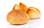 Tasty baked with sesame, isolated on a white background — Stock Photo