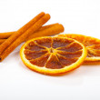 Dry orange and cinnamon, on a white background — Stock Photo