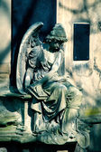 Angel statue on Cemetery in Europ — Stock Photo