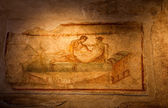Two thousand years old roman antique erotic fresco in Pompeii, I — Stock Photo