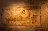 Two thousand years old roman antique erotic fresco in Pompeii, I — Stock Photo