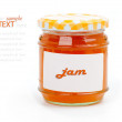 Jar with apricot jam, isolated on white background. — Stock Photo #30970163