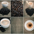 Set of black coffee over old burlap background — Stock Photo #30970277