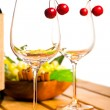 Wine glass on wooden table — Stock Photo
