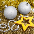 Christmas star on a golden background — Stock Photo